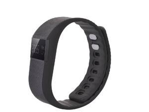 NEK Tech TW64 Bluetooth4.0 Smart Waterproof Wristband - Pedometer, Silicone Strap, Aluminium Case (Black)