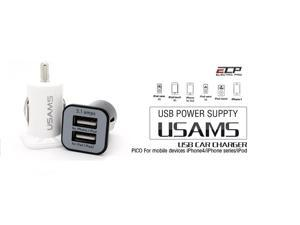 USAMS Compact High Output Dual USB Car Charger - 3.1A Output Ideal for Charging iPad, iPad 2, Galaxy, iPhone, HTC, Droid, GPS, and Other Tablets, Smart Phones and USB Powered Devices (white)