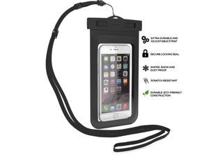 NEK Tech Universal Waterproof Phone Bag. For iPhone 6, 6 plus, 5, 5s, 4, Samsung Galaxy Note, Touch responsive front and back ,IPX8 Certified Case(BLACK)