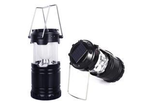 NEK Tech Collapsible Portable LED Solar Rechargeable Camping Lantern - Battery Powered for Outdoor Sports, Camping, Hiking, Fishing, Backpacking, Emergency - Black
