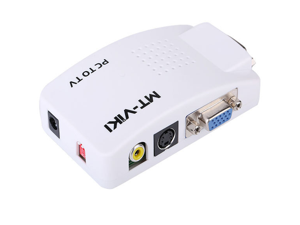 Original MT-VIKI White PC VGA to AV TV RCA S-Video Converter Switch Box Adapter