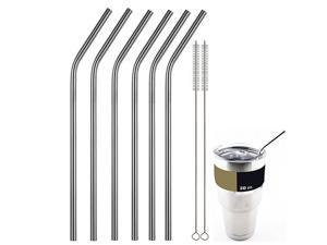 NEK Tech Stainless Steel Straws, Set of 8 (2 Cleaning Brushes Included) - Anti-rust, Strong Reusable Eco Friendly