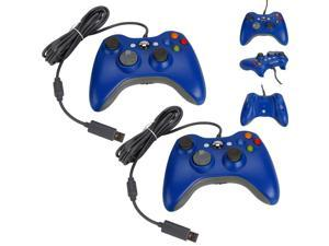 2 X Stylish Wired USB Game Pad Controller for Xbox 360 Console PC Windows Blue