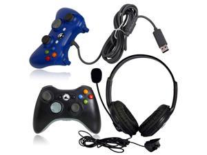 Black Wireless Remote Controller + Blue Wired Controller + Headset for Xbox 360