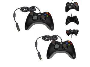 2 X Wired USB Gamepad Controller for Microsoft Xbox 360 & Slim PC Windows Black