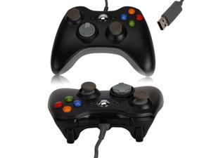 Wired USB Game Controller for Microsoft Slim Xbox 360 PC Windows Black
