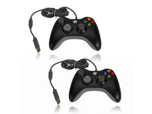 2X Wired USB Game Controller for Microsoft Slim Xbox 360 PC Windows Black