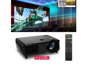 6000 Lumens Full HD 1080P LED LCD 3D VGA HDMI TV Home Theater Projector Cinema