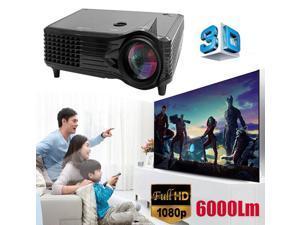 6000 Lumens Full HD 1080P LED LCD 3D VGA HDMI TV Home Theater Projector Cinema U