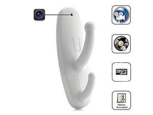 White Motion Detection Coat Hook Hidden Camera DVR Nanny Cam Video Surveillence
