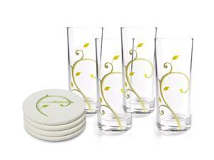 "Portion Control Glasses, 10oz, 6"" Tall - Set of 4 PLUS 4 Ceramic Coasters & eBook FREE"