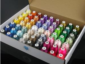 Basic 63 Brother colors polyester embroidery machine sewing thread +1000m/mini-king spool