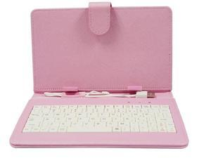 Tablet cases & covers with MIC keyboard, USB 2.0 connection, Pu Leather Android tablet pc clip case Pink color