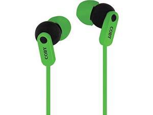Coby CV-E108GRN Tangle Free Splash Stereo Earbuds CVE108 Green