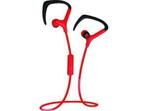 Coby Built-In Mic, Sweat Resistant, Tangle-Free Flat Cable Headphone, CEBT-401-RED, Red