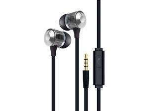 Tangle-Eree Stereo Earbuds w/Mic, Silver