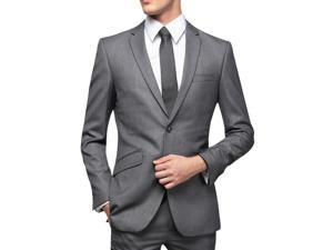 Slim fitted single-breasted business suit jacket Dark Grey M