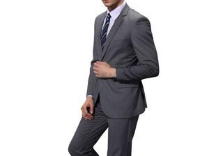 2015 Single breasted double button business and leisure Slim business suits Dark Grey XL