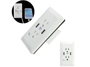 Dual USB Port Wall Charger Socket Power Adapter Outlet Plate Panel Dock Station 125V 15A USB Output DC 5V 2A For  Phones, Mp3 , Cameras, Game Consoles And Much More