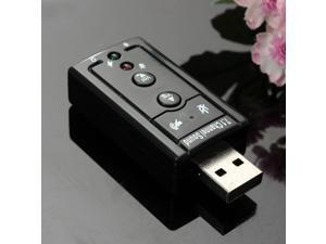 2 NEW Mini USB 2.0 3D Virtual External 7.1 Channel Audio Black Sound Card Adapter Black