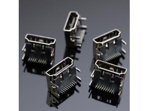 NEW 5pcs 19 Pin HDMI Female DIP Jack Socket Connectors 4Legs 2Rows 90 Degree