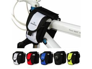 Roswheel  Bike Bicycle Package Front Top Tube Frame Pannier Wear-Resisting Anti-slip Leather Double Bag Pouch Phone Color Random