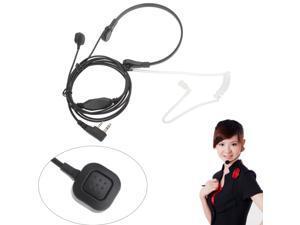 3.5mm Neckband Anti-noise PTT Headphone Headset Microphone Mic for Walkie Talkie