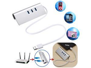 Aluminum 3 Port USB3.0 Hub w/ LAN RJ45 Adapter Gigabit Ethernet 1000M +Driver CD
