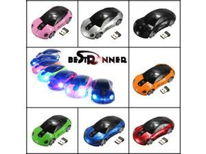 BESTRUNNER 2.4GHz Wireless USB Optical Car Mouse Mice Cordless For PC Laptop-Red