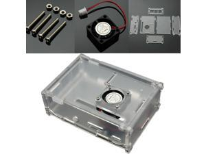 NEW Clear Acrylic High Quality Case Box for Raspberry Pi Model B+ Plus with Cooling Fan
