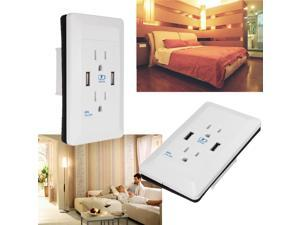 AC Wall Socket Power Adapter Receptacle 2 Port USB Charger Panel Outlet Plate For  iPad   Tablet PC