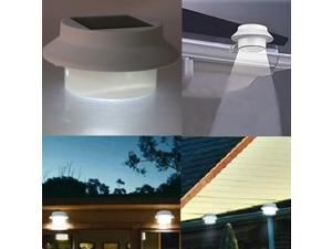 White Outdoor Solar Powered 3 LED Night Light Lamp Fence Gutter Roof Yard Wall Garden Pathway Light