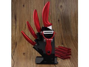 "Ceramic Knife Set kitchen knives 3"" 4"" 5"" 6"" Peeler + Cover + Acrylic Holder NEW"