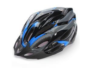 Safety Carbon EPS Safety Skiing Mountain Bike Helmet Carbon Colour with Visor - Black/Blue