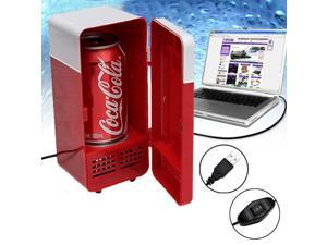 LED USB Powered Mini Fridge Can Cooler For Home & Office - Red