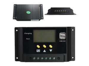 LCD 30A PWM Solar Panel Regulator Charge Controller 12V/24V 360W/720W Dual USB
