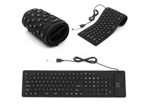 USB Flexible & Foldable & Portable Silent Typing Silicon Keyboard Waterproof & Cleanable for Sony PS2 Computer Laptop PC