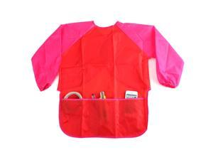 "Children Kids Craft Apron With Pockets For Painting Cooking Playing Waterproof Smock Sleeve 17.3""x21.65"" WxH Red"