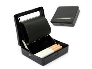 Automatic Cigarette Tobacco Rolling Machine Metal Roller Box Case Tin Up Simple Design Black 9x 7.5 x 2.2cm