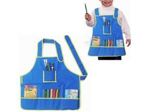 Children Kid Art DIY Painting Playing Drawing Craft Waterproof Apron Smock Two Layer Clothes With 4 Mulit Size Pockets Blue