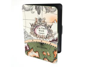 Portable Retro World Map Pattern PU Leather Case Cover Skin For Amazon Kindle Paperwhite E-reader 172x122mm