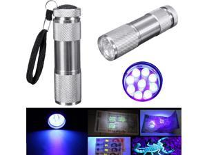 Mini 9 LED Aluminium Ultra Violet UV Currency Detection Flashlight Torch Light Lamp