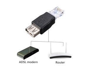 USB 2.0 Female to RJ45 Male Ethernet Network Cable Converter Adapter Black