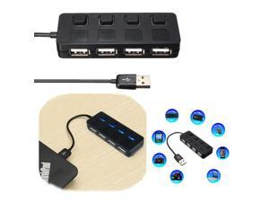 USB 2.0 4 Port High Speed Flash LED Switch Hub Adapter Power On/Off Button Black
