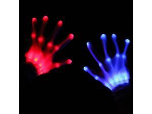 Fashion Cool LED Lights Dance Rave Raver Gloves Party Flash Fingers Halloween Unisex One Size For Concert Party