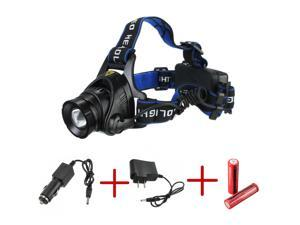Rechargeable 2500Lm CREE XML T6 LED 18650 Headlamp Zoomable Head Torch + 2x 18650 Battery + Changer
