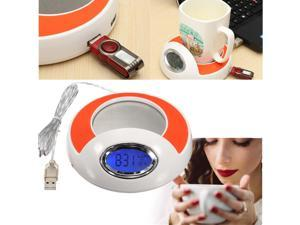 3 in 1  4 Port USB Hub Coffee Milk Cup Mug Warmer Pad w/Blue LED Backlight For PC Laptop
