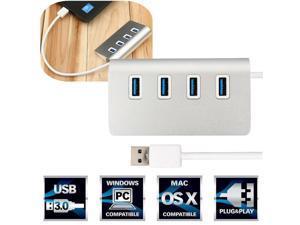 Aluminium 4 Port USB 3.0 Hub Power Adapter for Win7/8 Mac Air Pro Laptop Desktop