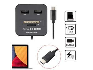 USB 3-1 Type C High Speed 2 Port USB 2.0 HUB Adapter w/SD TF Card Reader OTG for Macbook