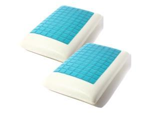 2pcs Queen Solid Piece Memory Foam White Bed Pillows Blue Cooling Comfort Gel White+Blue 50 cm x 30 cm x 7cm